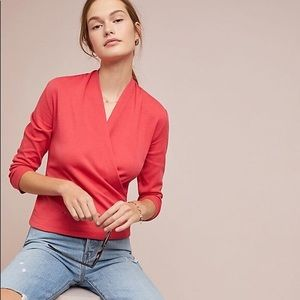 Anthropologie Maeve Curran Top in Coral Sz Small